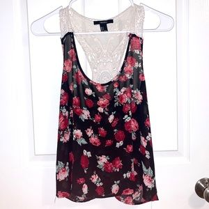 Floral Cami w/ Lace Back